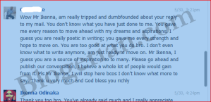 Gino reply about blogging