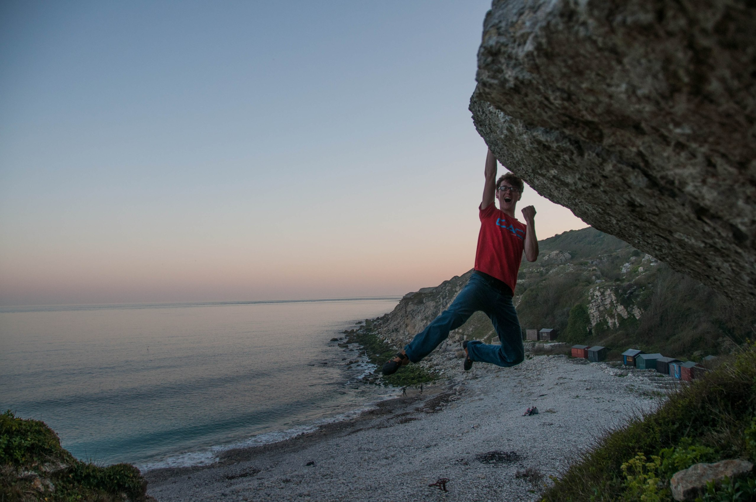 Winner! Sam at the top of 'Terror Boulder'
