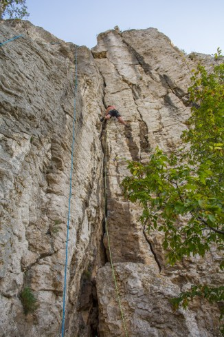 Alex enjoying a long corner route at St Trinity Rocks.