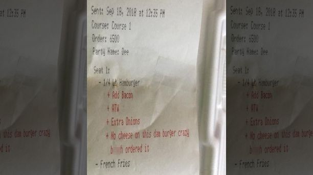 """You Are A """"Crazy Bitch"""" If You Order A Burger Without Cheese"""
