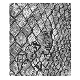Linked - b& w print by Afuwa