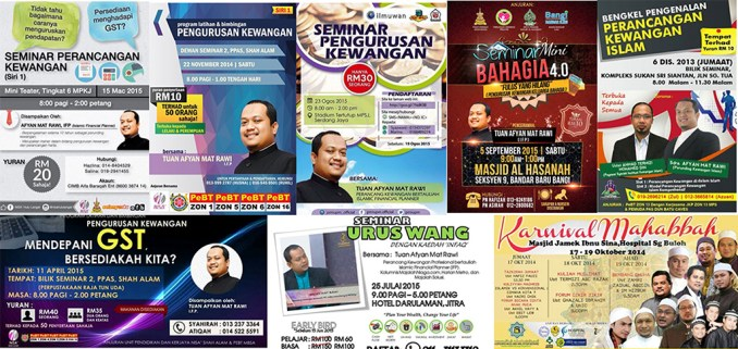 Antara program-program yang menjemput beliau sebagai speaker bersama tokoh-tokoh kewangan dan pelaburan Malaysia seperti Dr Ustaz Zaharuddin Abdul Rahman, Azizi Ali, Ahyat Ishak, Tuanbri, Rohaniah Noor dan lain-lain.