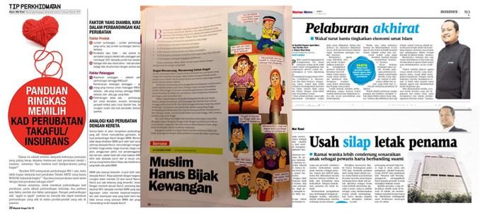 Tulisan-tulisan Sdra Afyan juga selalu tersiar di MajalahNiaga.com, Harian Metro, Majalah Solusi, Prospek Hartanah Malaysia.