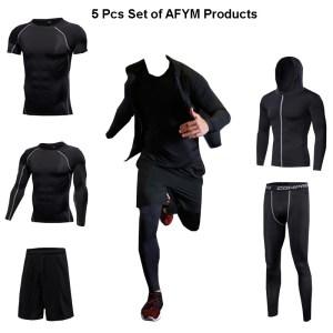 Men Running Fitness Sportswear of 5 Pcs Set in Black AFYM:30001