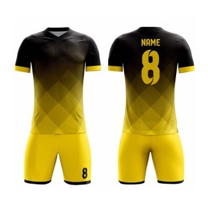 Black with Yellow Shaded Sublimation Soccer Kits AFYM:2062