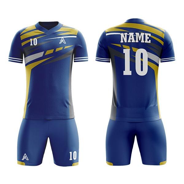 Blue with Custom Shaded Sublimation Soccer Kits AFYM:2065