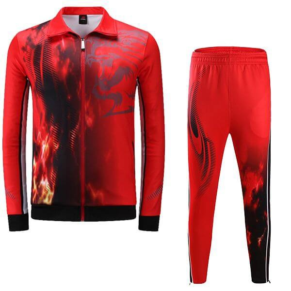 Red Sublimation Tracksuit with Fire Art AFYM:1048