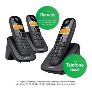 Telefone Sem Fio Intelbras TS 3113 + 2 Ramais Com Identificador de Chamada Conferência Preto