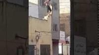 شاهد رومبو محيح من فوق منزله ويقذف السيارات بالحجارة ويقطع الطريق