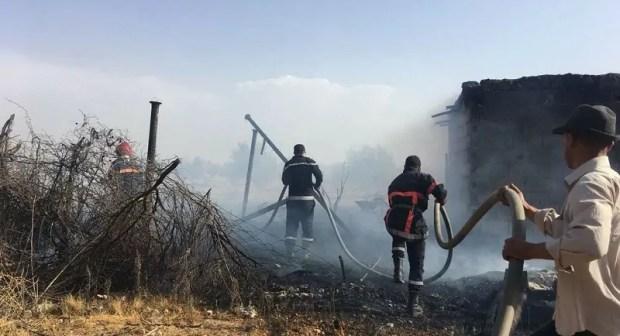 بالصور:حريق يلتهم طنا من الحبوب ويتسبب في نفوق أزيد من 86 رأس من الأغنام بضيعة فلاحية