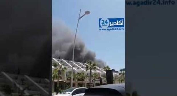 فيديو الحريق المهول قرب فندق مصنف بأكادير