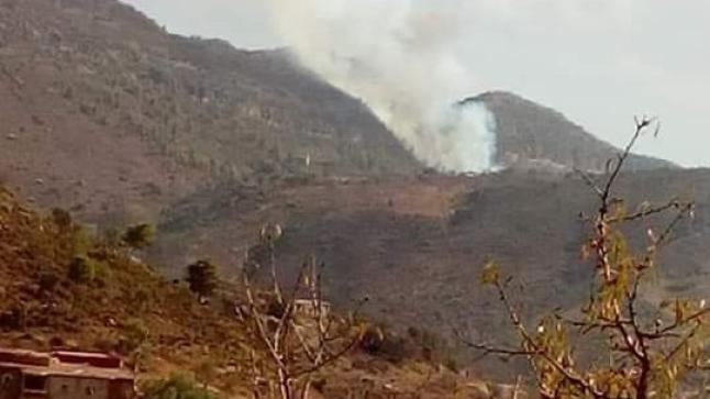 النيران تشتعل في غابات تلمست بجبال إداوتنان (فيديو)