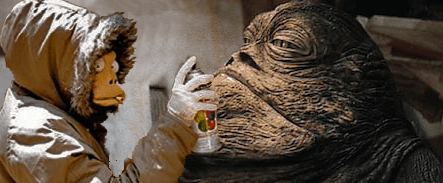 Banksy considers tagging Jabba the Hutt.
