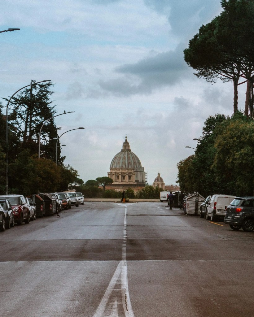 View of St Peter's dome from Via Nicolo Piccolomini