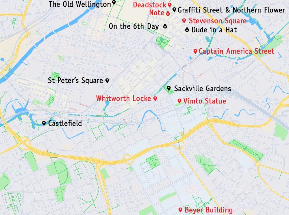 Photo locations in Manchester - map