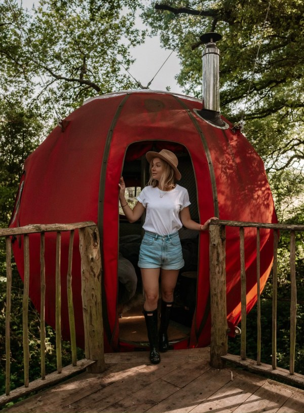 Glamping in a treehouse Goji at Brook House Woods