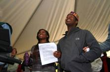 """J.B. and friend helping to lead """"We Shall Overcome"""""""