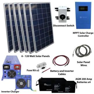 720 WATT SOLAR WITH 4000 WATT PURE SINE POWER INVERTER CHARGER 120/240 VAC KIT OFF GRID 12VDC