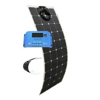 130 Watt Flexible Bendable Slim Solar Panel & 10 AMP Charge Controller Kit