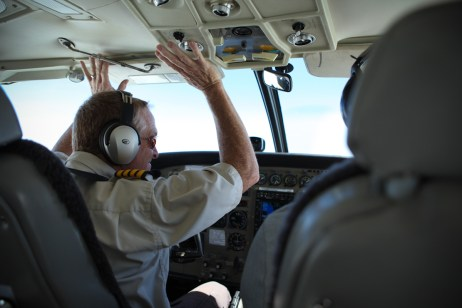 Captain Chris of Samaritan's Purse, hands off the controls as Randy flies us.