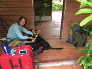Leaving Bolivia, unfortunately the German Shepherd puppy would not fit in our luggage!