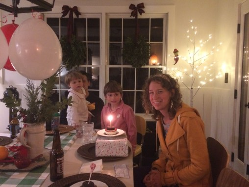 Cassie's second birthday dinner with her brother's family in Southern Pines