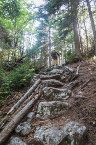 A steep rock staircase.