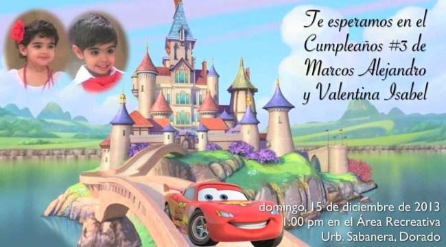 Invitación al cumpleaños de Marcos Alejandro y Valentina Isabel