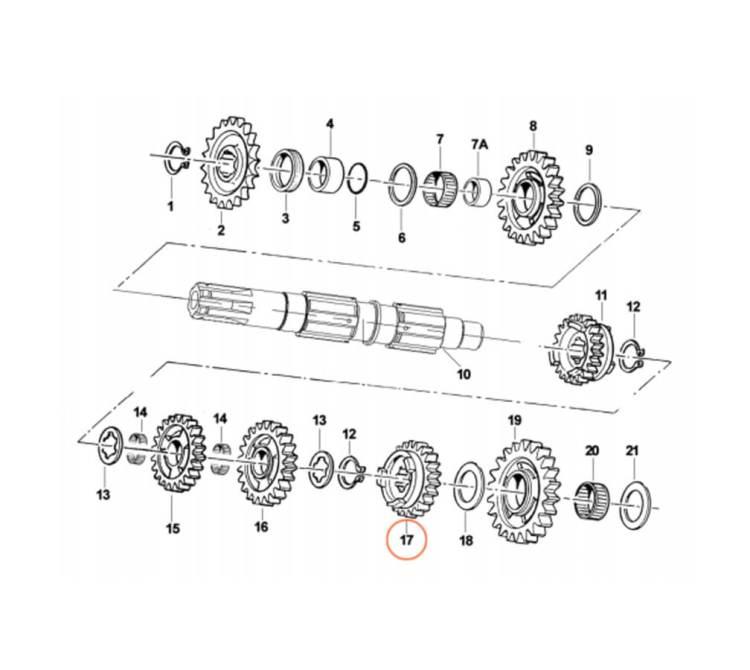 Piñón árbol secundario motor TM KZ10C