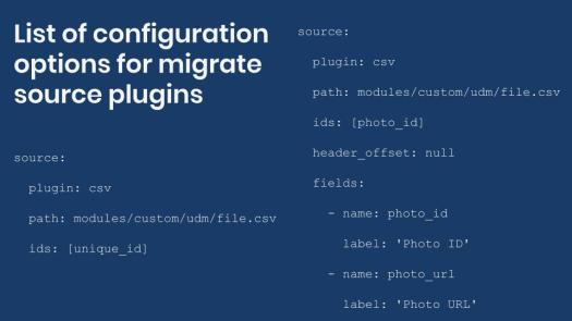 List of configuration options for source plugins