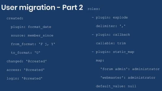 Example field mapping for user migration