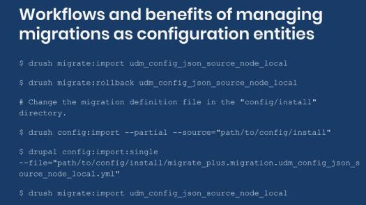 Example workflow for managing migration configuration entities.