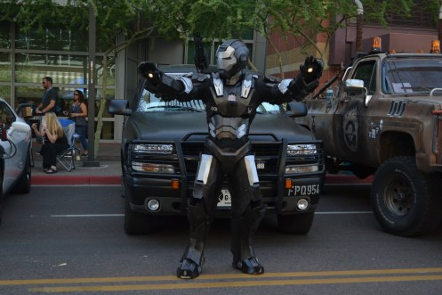 Iron Man ready's his weapons at Comicon in downtown Phoenix Saturday afternoon.