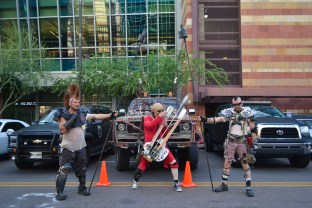 Mad Max characters showcase their truck Comicon in downtown Phoenix Saturday afternoon.