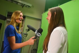 Tayler Bell and Brittany Norton practice in the Fox Sports Studio in downtown Phoenix on August 19, 2015.
