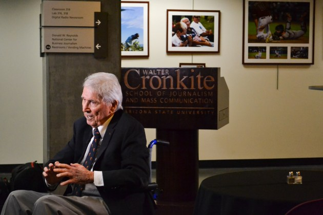 Gred Crowder gets ready for an interview during the Greg Photojournalism Award Ceremony at the Cronkite School Of Journalism in downtown Phoenix on October 5, 2015.