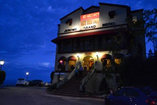 The Grand Hotel (which is said to be haunted) lights up the night in Jerome, Arizona on October 12, 2015.