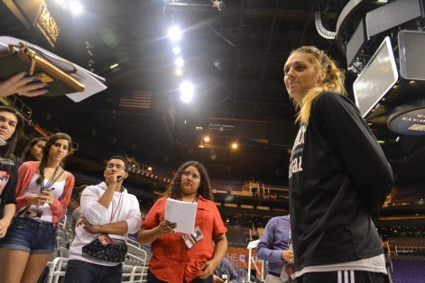 Cayla Francis, a Phoenix Mercury basketball player, gets interviewed by students in the Summer Journalism Program on June 9, 2015.