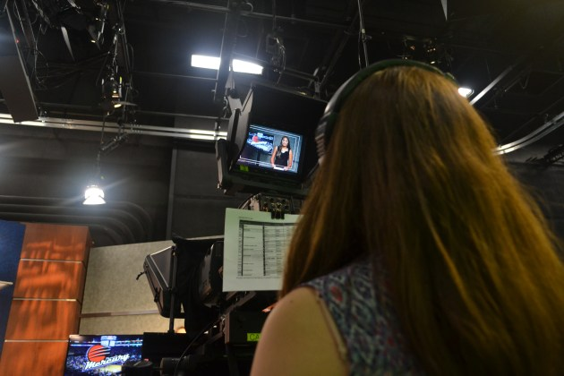 Danielle Malkin works the camera during a segment in the Summer Journalism Program on June 10, 2015.