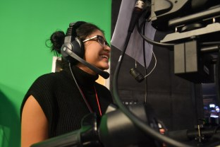 Mia Rodriguez has a laugh during a segment in the Summer Journalism Program on June 10, 2015.