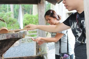 Water purification outside the path to Okunoin,