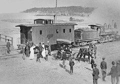 Passenger train along Grand Marais Bay