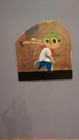 hebru brantley art exhibit chicago cultural center parade day rain flyboy on wood