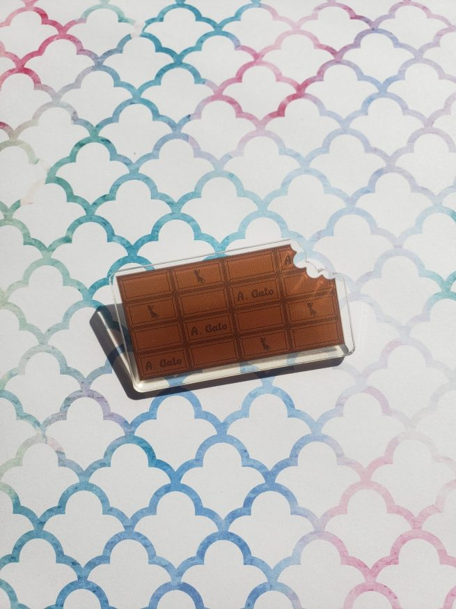 Chocolate bar acrylic pin