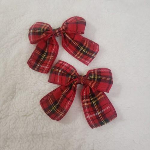 plaid bow clips