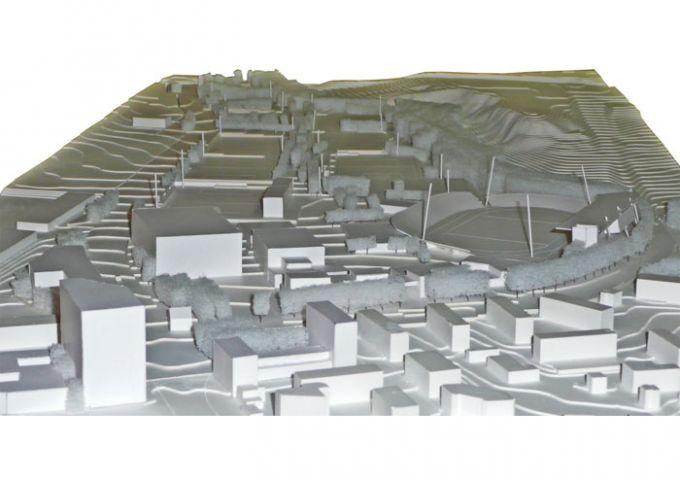 Vue de la maquette du projet depuis le sud : de ville en parc