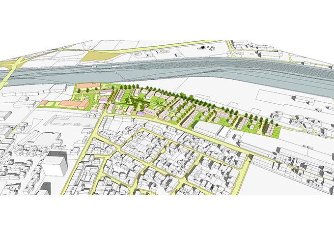 Perspective aérienne de la proposition d'aménagement – Vue de l'ouest
