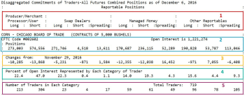 Snapshot from COT report based on open interest from December 6 for the corn futures market