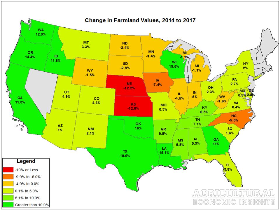 State-Level Farmland Values in 2017. Ag Trends. Agricultural Economic Insights