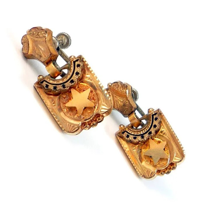 Antique Gold GF Civil War Black Enamel Sterling Star Screw Back Earrings, c. 1860